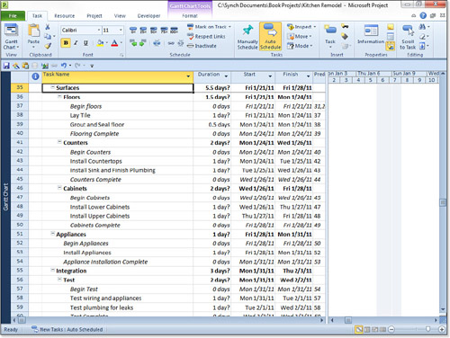 work breakdown structure microsoft project