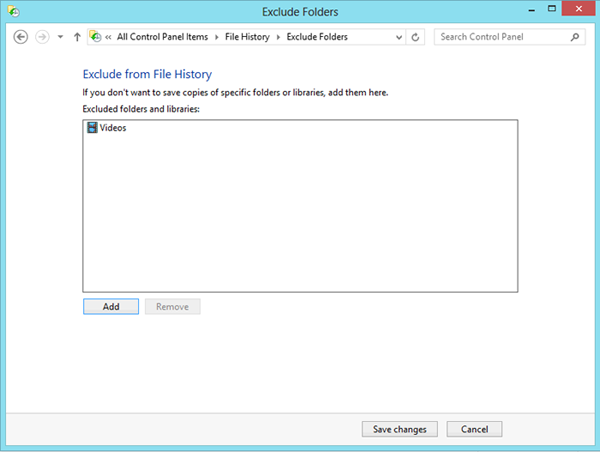 Excluding folders from File History backups