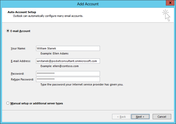 A screen shot of the Auto Account Setup page, showing creation of an email account.