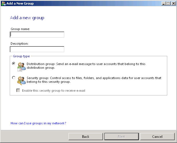 Windows Small Business Server 2011 : Working with Groups