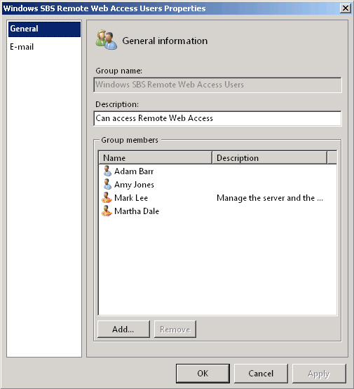 Windows Small Business Server 2011 : Working with Groups - IT