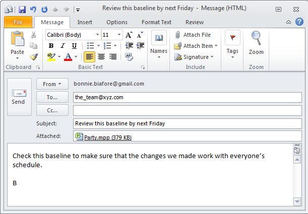 The message form that you see is the same as the one that appears in your email program, so you can modify and format the message as you're accustomed to.