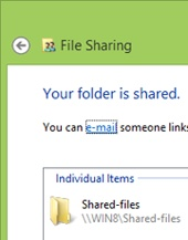 Notifying that a folder is now shared