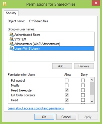 Editing the permissions for a selected user