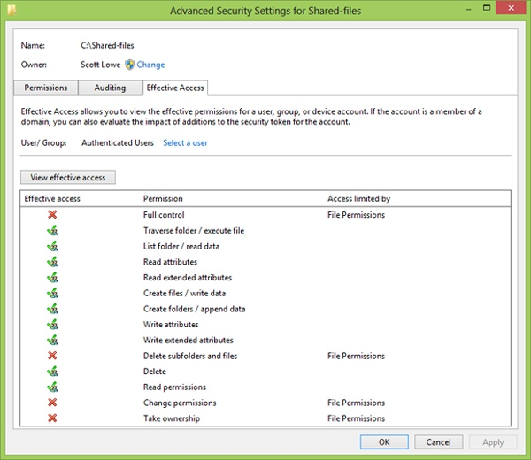 The Effective Access tab in the Advanced Security Settings window