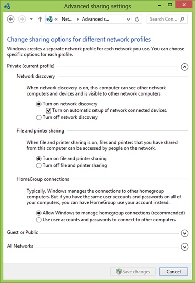 The Advanced Sharing Settings for the Private network profile