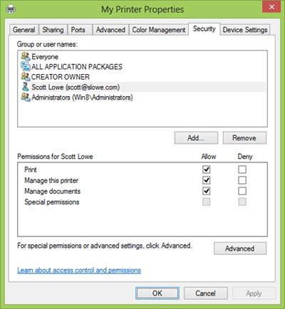Setting printer sharing permissions on the Security tab in the My Printer Properties dialog box