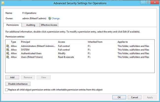 Advanced Security Settings