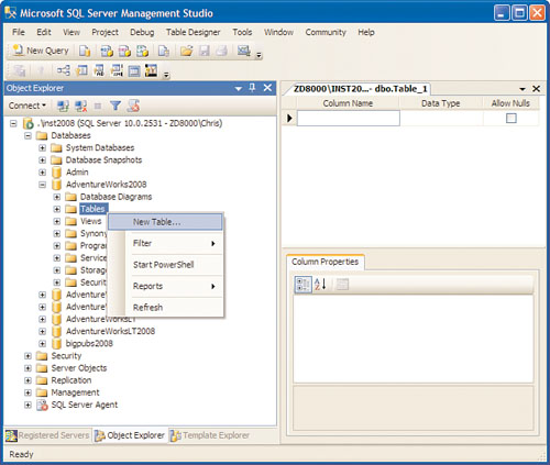 SQL Server 2008 R2 : Creating Tables - Using Object Explorer