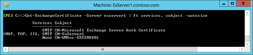A screen shot showing the Get-ExchangeCertificate command being run to display information about the three default certificates installed on an Exchange 2013 server.