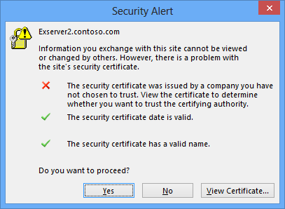 A screen shot showing the Security Alert flagged by Outlook 2013 when it discovers that the security certificate installed on the Exchange server to which Outlook is connected is not trusted.