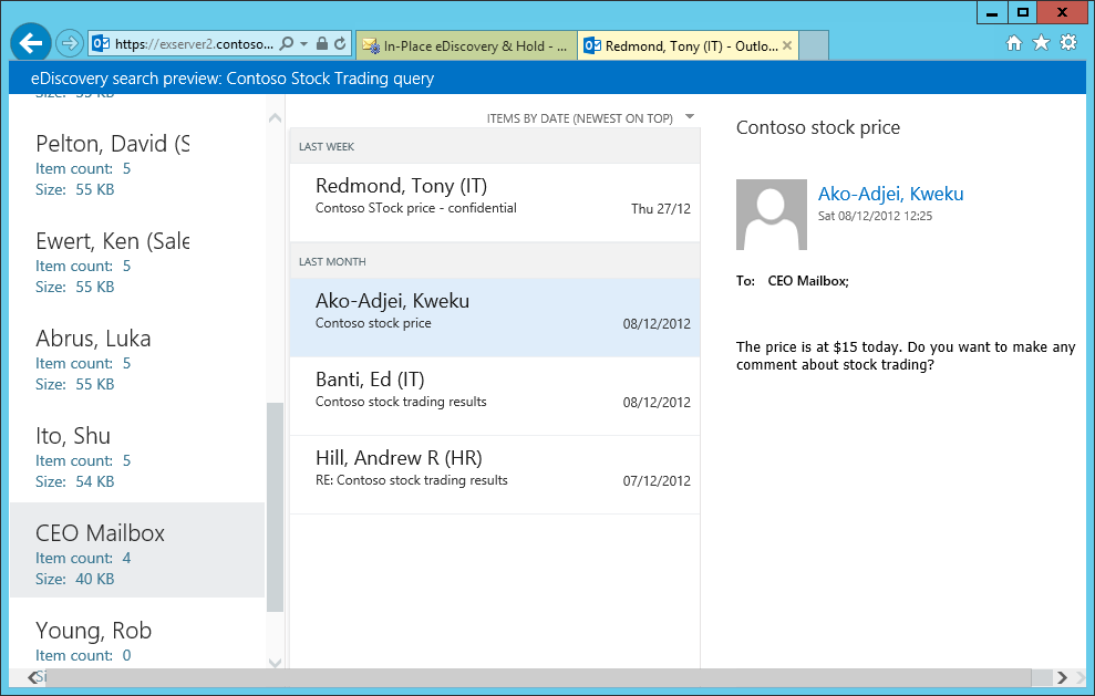 To preview search results, EAC invokes a special instance of Outlook Web App to display the results from the source mailboxes. This screen shot shows how the results are presented, with a list of the source mailboxes to the left and the items found in the selected mailbox shown in the middle and to the right.