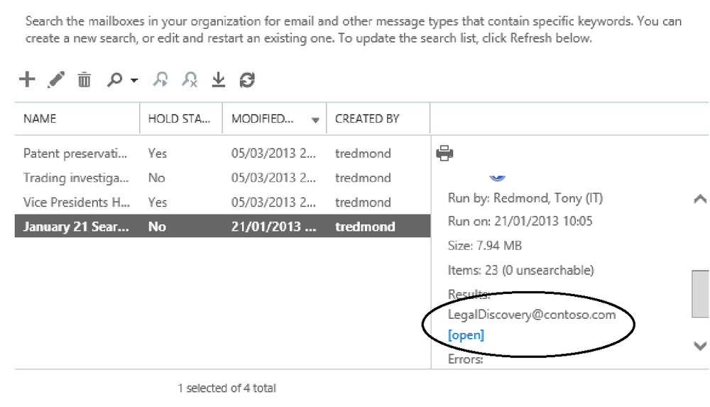 This screen shot focuses on the link EAC provides to open the discovery mailbox used to copy items identified in a search. Clicking the link opens the mailbox with Outlook Web App.
