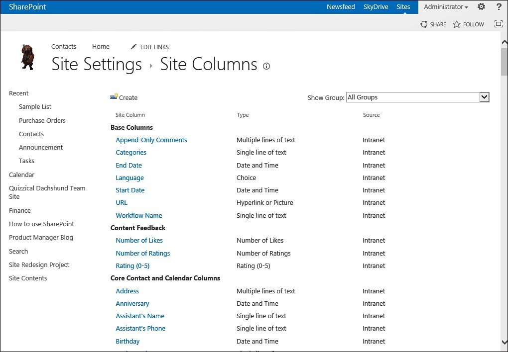 Sharepoint 2013 : Customizing a SharePoint Site - Create a Site Column