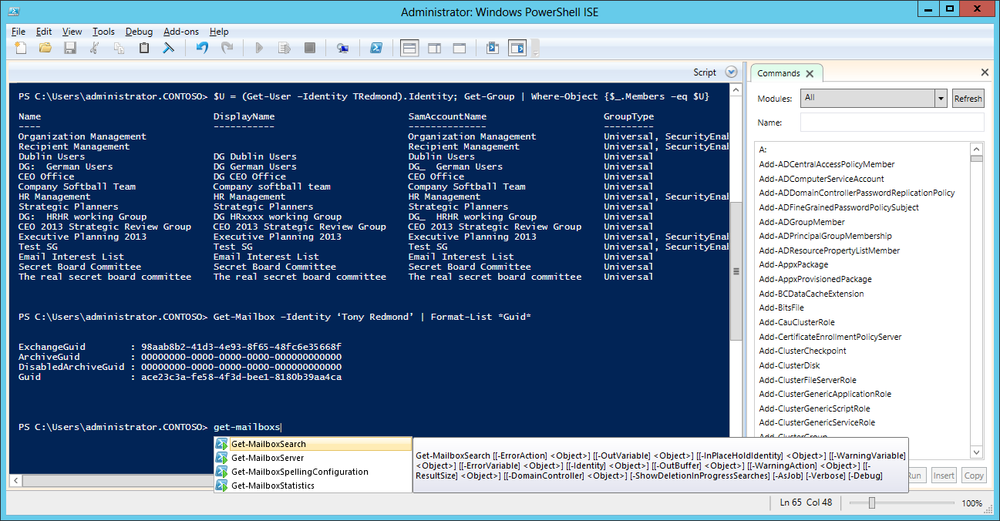 A screen shot of the PowerShell ISE being used to write code for Exchange 2013. Several commands that have been executed are visible, including Get-Mailbox and Get-User, and the current input is Get-Mailbox, to which ISE responds with a list of all the matching commands starting with Get-MailboxSearch.