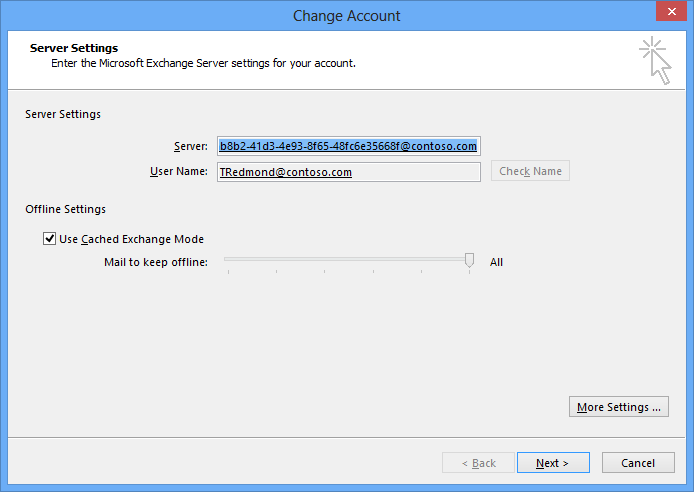 A screen shot showing how Outlook displays the GUID that identifies an Exchange 2013 mailbox when it configures a profile to access the mailbox.