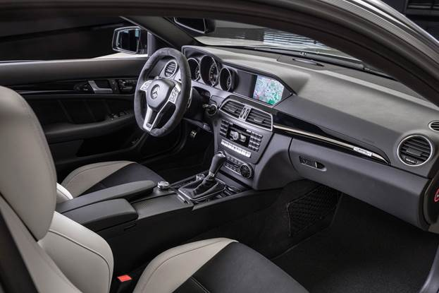 Interior appointments are limited to black or white leather, trimmed with black faux suede – which also wraps the steering wheel – and contrast stitching
