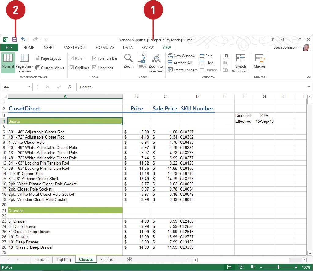 Workbooks excel workbook save : Microsoft Excel 2013 : Saving a Workbook (part 2) - Save an Excel ...